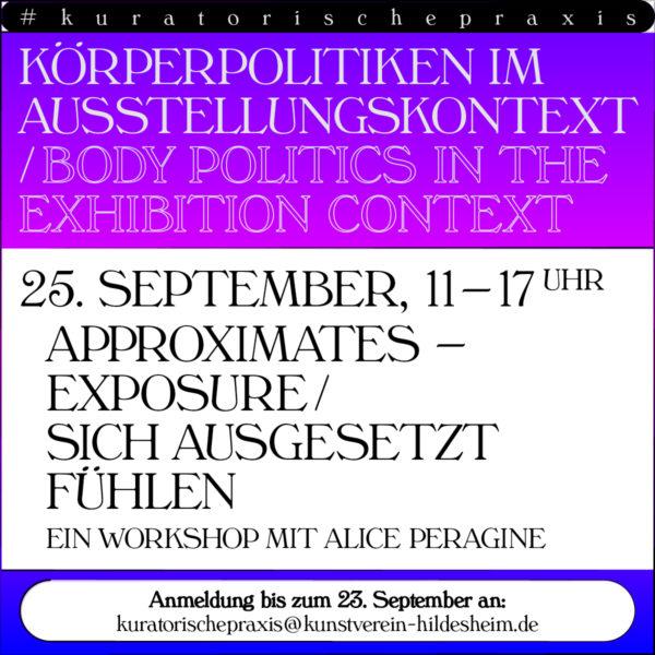 Ankündigungsbild für den Workshop Sich ausgesetzt fühlen mit der Künstlerin Alice Peragine. Alle Informationen zur Veranstaltung findest du im unten stehenden Text.